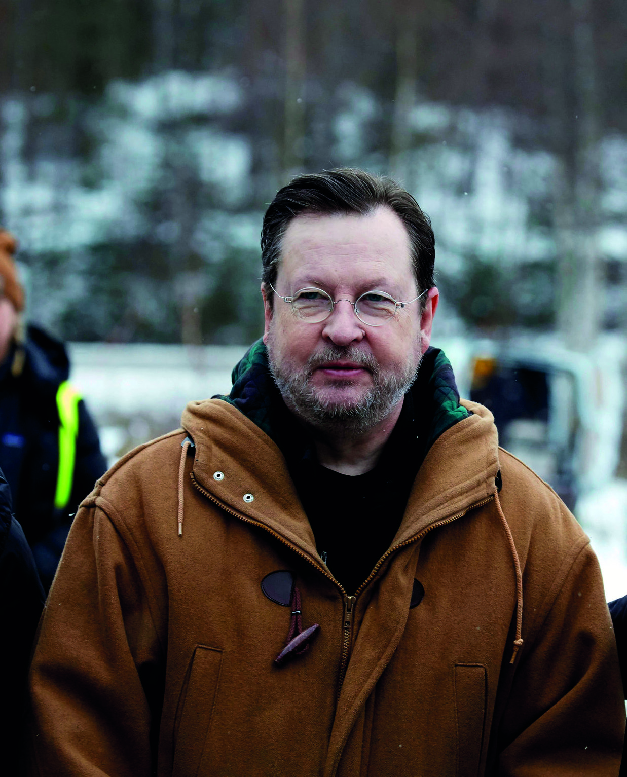 Lars von Trier at the press conference for 'The House That Jack Built' in Dalsland, Sweden in February.